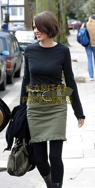 """SADIE FROST .leaving her London home to go to Elstree Film Studios where she begins work producing """"World Of Tomorrow"""" in which her husband Jude Law stars..www.capitalpictures.com.©Capital Pictures.khaki green skirt"""
