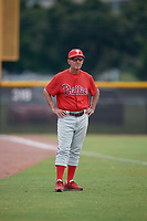 GCL Phillies East coach Roly de Armas (8) during a Gulf Coast League game against the GCL Yankees East on July 31, 2019 at Yankees Minor League Complex in Tampa, Florida.  GCL Phillies East defeated the GCL Yankees East 4-3 in the second game of a doubleheader.  (Mike Janes/Four Seam Images)