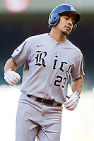 Anthony Rendon #23 of the Rice Owls connects rounds the bases after hitting a solo home run in the top of the first inning against the Baylor Bears at Minute Maid Park on March 6, 2011 in Houston, Texas.  Photo by Brian Westerholt / Four Seam Images