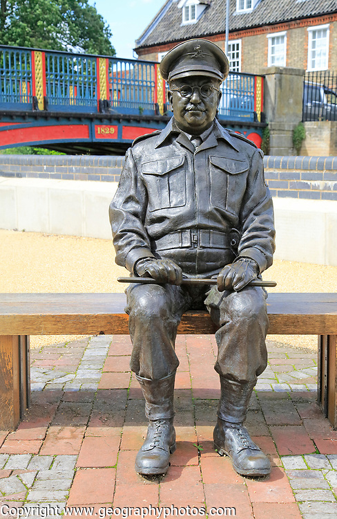 Captain Mainwaring, actor Arthur Lowe, sculpture, Thetford, Norfolk,  England, UK  by Sean Hedges-Quinn 2010