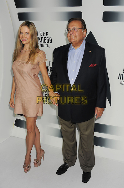Paul Sorvino, Mira Sorvino<br /> &quot;Star Trek Into Darkness&quot; DVD/Blu-Ray Release held at the California Science Center, Los Angeles, California, USA.<br /> September 10th, 2013<br /> full length dress beige lace black suit jacket shirt beige trousers father dad daughter family holding hands <br /> CAP/ROT/TM<br /> &copy;Tony Michaels/Roth Stock/Capital Pictures