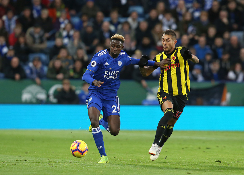Leicester City's Wilfred Ndidi and Watford's Roberto Pereyra <br /> <br /> Photographer Stephen White/CameraSport<br /> <br /> The Premier League - Leicester City v Watford - Saturday 1st December 2018 - King Power Stadium - Leicester<br /> <br /> World Copyright © 2018 CameraSport. All rights reserved. 43 Linden Ave. Countesthorpe. Leicester. England. LE8 5PG - Tel: +44 (0) 116 277 4147 - admin@camerasport.com - www.camerasport.com