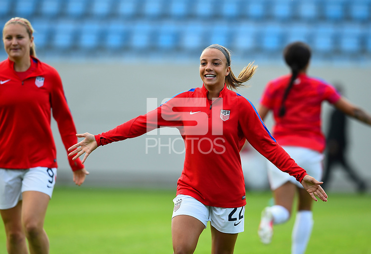 Sandefjord, Norway - June 11, 2017: Mallory Pugh warms up prior to their game  vs Norway in an international friendly at Komplett Arena.