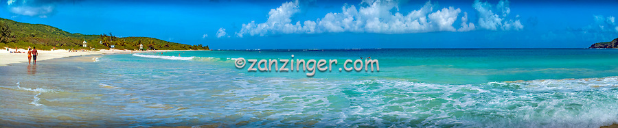 Culebra, Flamenco Beach, Couple Walking, Waves, White, Sand, Beach, Aua, Ocean, Water, Panorama CGI Backgrounds, ,Beautiful Background
