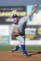 Tim Bittner of the Rancho Cucamonga Quakes pitches during a game against the Inland Empire 66ers at Stater Bros Stadium on August 3, 2003 in San Bernardino, California. (Larry Goren/Four Seam Images)