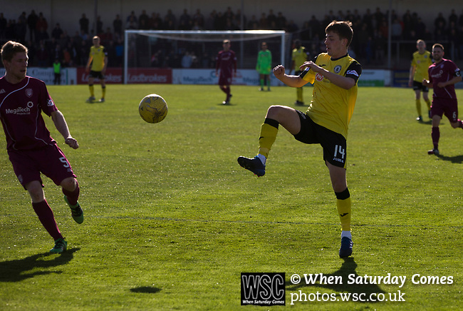 Arbroath 0 Edinburgh City 1, 15/03/2017. Gayfield Park, SPFL League 2. Visiting defender Aaron Dunsmore in action at Gayfield Park as Arbroath hosted Edinburgh City (in yellow) in an SPFL League 2 fixture. The newly-promoted side from the Capital were looking to secure their place in SPFL League 2 after promotion from the Lowland League the previous season. They won the match 1-0 with an injury time goal watched by xxx spectators to keep them 4 points clear of bottom spot with three further games to play. Photo by Colin McPherson.