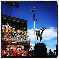 SAN FRANCISCO, CA - OCTOBER 7: Instagram of the Juan Marchial statue outside the ballpark before Game 4 of the NLDS between the Washington Nationals and San Francisco Giants at AT&T Park on October 7, 2014 in San Francisco, California. Photo by Brad Mangin