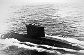 "United States Department of Defense released its 1985 assessment of Soviet Military Power at the Pentagon in Washington, DC on April 2, 1985.  The release stated ""The KILO-Class diesel-powered fast attack submarine has begun periodic operations in the Pacific and Indian Oceans from Cam Rinh Bay, Vietnam.""<br /> Credit: Department of Defense via CNP"