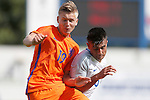 Jelle Duin of Netherlands competes with Easah Suliman of England during the U19's International match at the New Buck?s Head Stadium, Telford. Picture date: 1st September 2016. Picture Malcolm Couzens/Sportimage