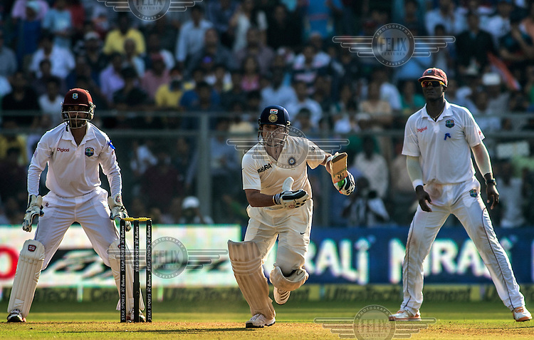Sachin Tendulkar in action at his last 200th (and last) test cricket match before his retirement at Wankhede Stadium in Mumbai.
