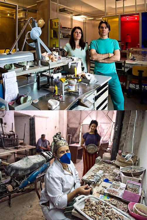 A BOCCA CHIUSA<br /> Laboratorio odontotecnico Catalani & Adriano<br /> Pulitura del corallo di Yamina Herbi<br /> <br /> Denti qui e là<br /> calchi mancanti dell'intero<br /> gessi e mascherine.<br /> Seria è la nostra professione<br /> sorridete voi che potete,<br /> noi abbiamo da lavorare.<br /> <br /> Coralli da levigare,<br /> polvere di mare da cancellare.<br /> Sorridete voi che tenete tra le mani<br /> il ciondolo o il bracciale,<br /> noi abbiamo da lavorare.