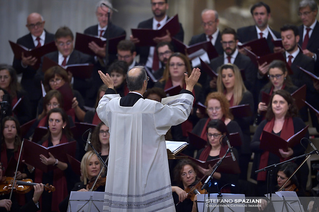 Mons. Marco Frisina .Pope Francis celebrates a closing mass at the end of the Synod of Bishops at the Saint Peter's Basilica in Vatican on October 28, 2018