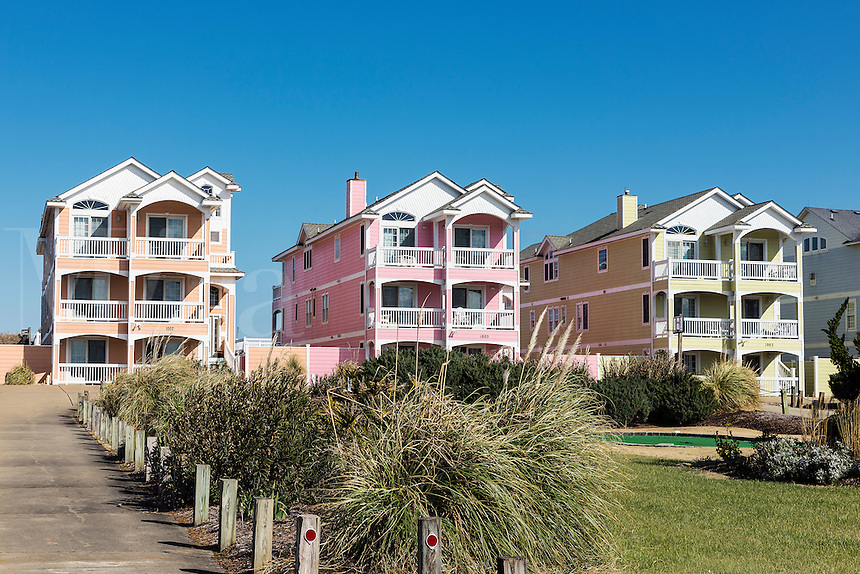 Colorful beach houses, Kill Devil Hills, Outer Banks, North Carolina, USA