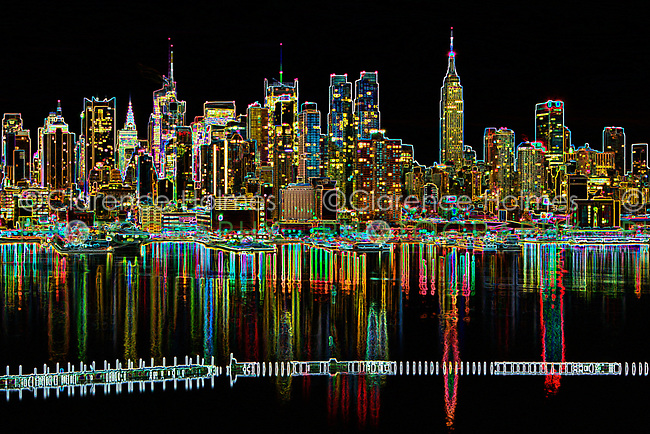 Stylized view of the Manhattan skyline at twilight as viewed over the Hudson River from New Jersey.
