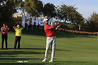 Anirban Lahiri (IND) playing in the &quot;skills challenge&quot; during the Preview of the Hero Indian Open at the DLF Golf and Country Club on Monday 5th March 2018.<br /> Picture:  Thos Caffrey / www.golffile.ie<br /> <br /> All photo usage must carry mandatory copyright credit (&copy; Golffile | Thos Caffrey)