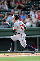 Left fielder Braxton Davidson (24) of the Rome Braves bats in a game against the Greenville Drive on Sunday, June 14, 2015, at Fluor Field at the West End in Greenville, South Carolina. Rome won, 5-2. (Tom Priddy/Four Seam Images)