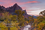 Sunset, Virgin River, The Watchman, Zion National Park, Utah