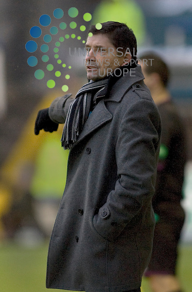 Allan Moore manager of Greenock Morton during the Greenock Morton V Raith Rovers  Irn Bru Scottish First Division Match 2012-2013 at Cappielow Park, Greenock  .Picture: Campbell Skinner/Universal News And Sport (Scotland) 26th January 2013..