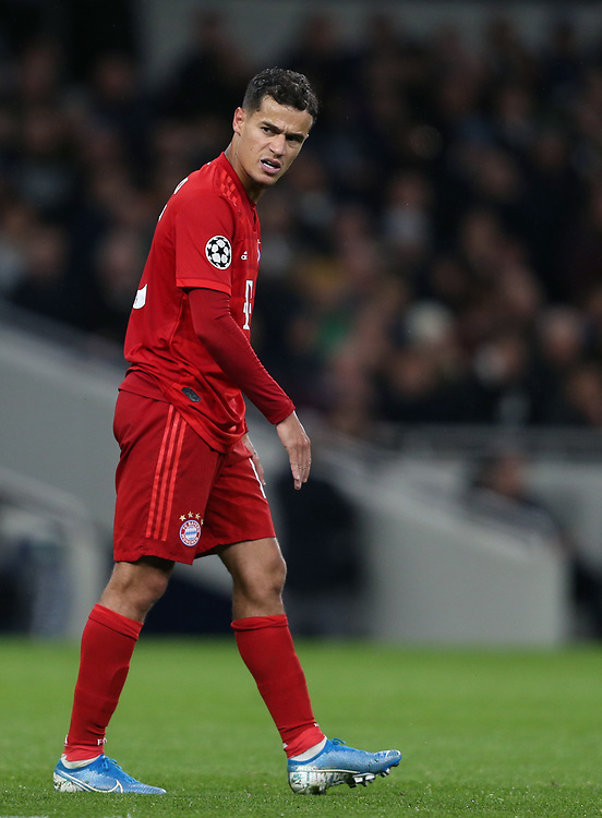 Bayern Munich's Philippe Coutinho<br /> <br /> Photographer Rob Newell/CameraSport<br /> <br /> UEFA Champions League Group B  - Tottenham Hotspur v Bayern Munich - Tuesday 1st October 2019 - White Hart Lane - London<br />  <br /> World Copyright © 2018 CameraSport. All rights reserved. 43 Linden Ave. Countesthorpe. Leicester. England. LE8 5PG - Tel: +44 (0) 116 277 4147 - admin@camerasport.com - www.camerasport.com