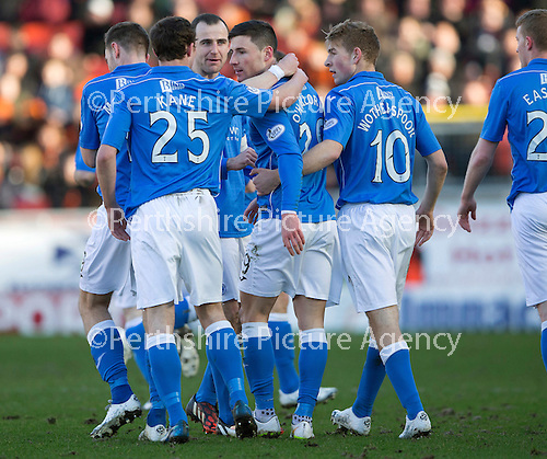 Dundee United v St Johnstone.....21.02.15<br /> Michael O'Halloran celebrates his first goal<br /> Picture by Graeme Hart.<br /> Copyright Perthshire Picture Agency<br /> Tel: 01738 623350  Mobile: 07990 594431