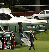 United States President Barack Obama arrives at Walter Reed National Military Medical Center to visit wounded service members, on Monday, October 10, 2011, in Bethesda, Maryland. .Credit: Leslie E. Kossoff / Pool via CNP