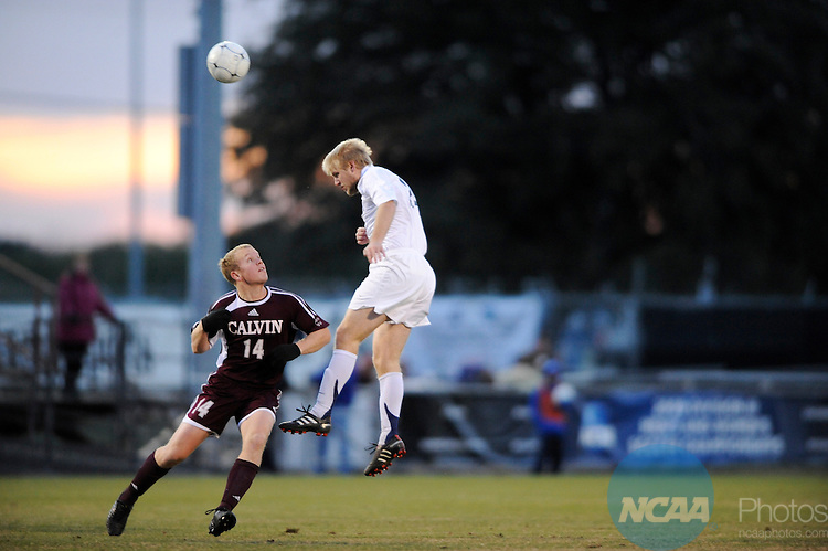 05 DEC 2009:  Tom Renko (24) of Messiah College dribbles past Michael Holwerda (14) of Calvin College during the Division III Men's Soccer Championship held at Blossom Soccer Stadium hosted by Trinity University in San Antonio, TX. Messiah defeated Calvin 2-0 for the national title.  Brett Wilhelm/NCAA Photos