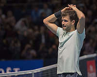 Grigor Dimitrov (BUL) after match point in the final against David Goffin (BEL). Dimitrov beat David Goffin (BEL) 2 sets to 3.  Nitto ATP Finals Tennis Championships, O2 Arena London, England,19th November 2017.