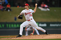 Starting pitcher Logan Boyd (39) of Greenville Drive delivers a pitch in a game against the Greensboro Grasshoppers on Tuesday, April 25, 2017, at Fluor Field at the West End in Greenville, South Carolina. Greenville won, 5-1. (Tom Priddy/Four Seam Images)