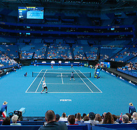 5th January 2020; RAC Arena, Perth, Western Australia; ATP Cup Australia, Perth, Day 3; Italy versus Norway; Simone Bolelli of Italy serves to Viktor Durasovic of Norway during the doubles - Editorial Use