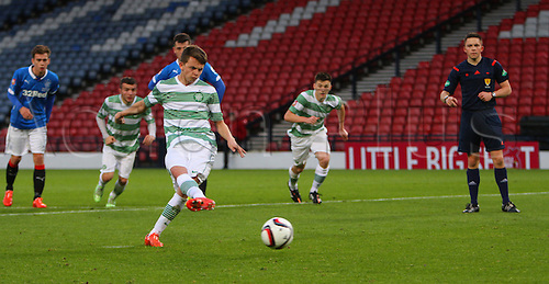 21.05.2015.  Glasgow, Scotland. Little Big Shot Scottish Youth Cup Final. Celtic versus Rangers.  Aidan Nesbitt completes his hat trick from the penalty spot