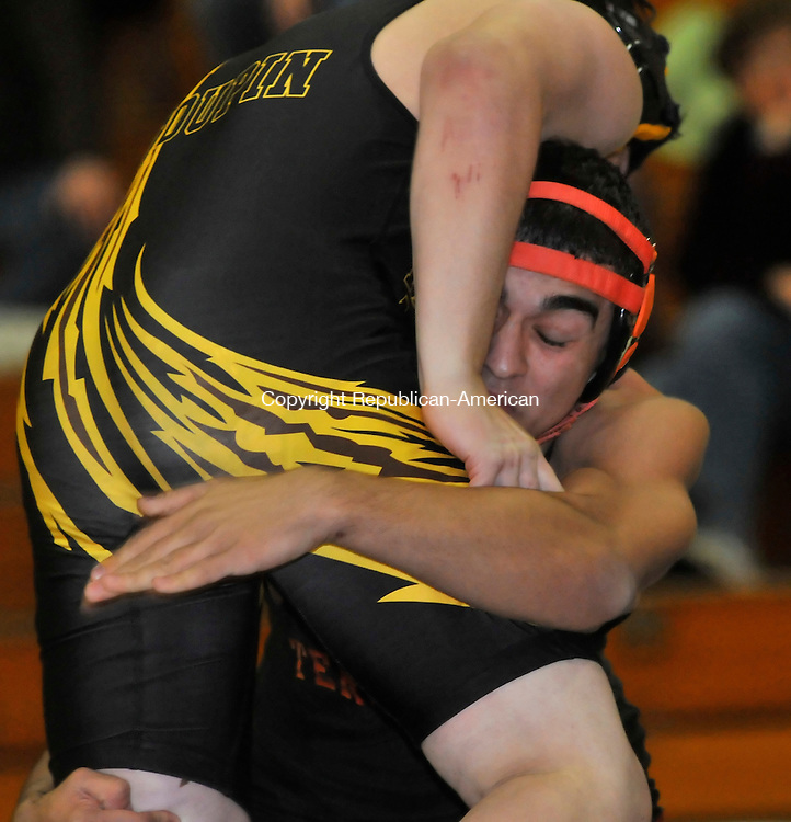 THOMASTON, CT- 12 JANUARY 2009 --011209JS15-Terryville's Egzan Aliu defeated Thomaston's Glen Toupin in the 145 lb. class during their meet Monday at Thomaston High School.<br /> Jim Shannon / Republican-American