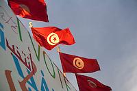 23 ottobre 2011 Tunisi, elezioni libere per l'Assemblea Costituente, le prime della Primavera araba: bandiere della Tunisia sventolano.October 23, 2011 Tunis, free elections for the Constituent Assembly, the first of the Arab Spring: waving flags of Tunisia<br /> <br /> premieres elections libres en Tunisie octobre <br /> tunisian elections