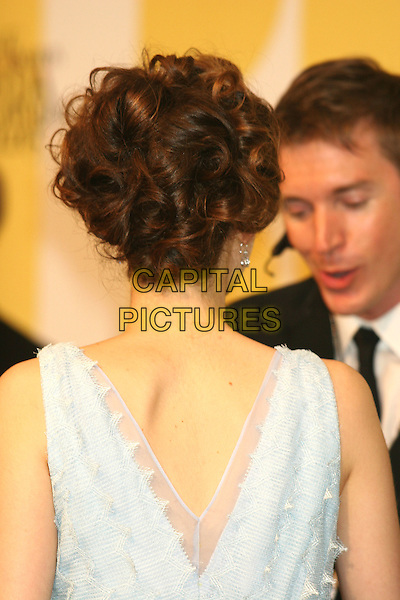 EMMY ROSSUM.2005 CFDA Fashion Awards - Inside Arrivals.New York Public Library in New York City, New York, USA, June 6th 2005 .half length pale blue dress back behind.Ref: IW.www.capitalpictures.com.sales@capitalpictures.com.©Ian Wilson/Capital Pictures.