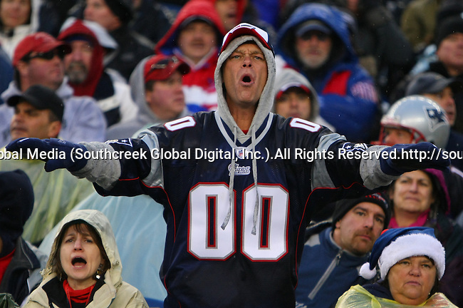 13December2009: New England Patriot fans cheer their team. The New England Patriots defeated the Carolina Panthers 20-10 at Gillette Stadium in Foxborough, Massachusetts.