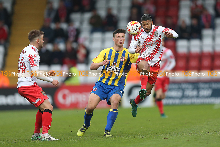 Matty Pearson of Accrington Stanley and Jobi McAnuff of Stevenage during Stevenage vs Accrington Stanley, Sky Bet EFL League 2 Football at the Lamex Stadium on 6th May 2017