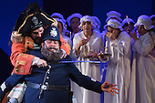 """London, UK. 7 May 2015. Joshua Bloom as The Pirate King and Jonathan Lemalu as Police Sergeant. Dress rehearsal of the Gilbert and Sullivan comic opera """"The Pirates of Penzance"""" at the London Coliseum. Award winning director Mike Leigh makes his operatic directing debut with The Pirates of Penzance. The ENO production opens at the London Coliseum on 9 May 2015 and runs for 14 productions until 27 June 2015. The English National Opera production is conducted by David Parry. Cast: Andrew Shore as Major-General Stanley, Joshua Bloom as The Pirate King, Alexander Robin Baker as Samuel, Robert Murray as Frederic, the Pirate Apprentice, Jonathan Lemalu as Sergeant of the Police, Claudia Boyle as Mabel, Soraya Mafi as Edith, Angharad Lyddon as Kate, Lydia Marchione as Isabel and Rebecca de Pont Davies as Ruth. Photo: Bettina Strenske"""