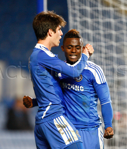 13.04.12 Stamford Bridge London, ENGLAND: Lucas Piazon of Chelsea celebrates his goal with Islam Feruz of Chelsea during the F.A.Cup Semi-Final 2nd Leg.Chelsea Youth and Manchester United Youth, played at Stamford Bridge London, ENGLAND