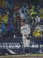 Christian Villanueva de San Diego , durante el partido de beisbol de los Dodgers de Los Angeles contra Padres de San Diego, durante el primer juego de la serie las Ligas Mayores del Beisbol en Monterrey, Mexico el 4 de Mayo 2018.<br /> (Photo: Luis Gutierrez)