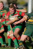 D. Olsen tries to break through the Pukekohe tacklers. Counties Manukau Premier Club Rugby, Pukekohe v Waiuku  played at the Colin Lawrie field, on the 3rd of 2006.Pukekohe won 36 - 14