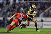 George Ford of Bath Rugby looks to get past Anthony Etrillard of Toulon. European Rugby Champions Cup match, between RC Toulon and Bath Rugby on January 10, 2016 at the Stade Mayol in Toulon, France. Photo by: Patrick Khachfe / Onside Images