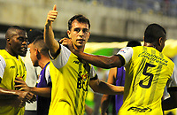 BARRANCABERMEJA - COLOMBIA, 22-04-2018:  Pablo Vranjican (C) jugador de Alianza Petrolera celebra un gol anotado a Rionegro Águilas durante encuentro fecha 17 de la Liga Águila I 2018 disputado en el estadio Daniel Villa Zapata de la ciudad de Barrancabermeja.  / Pablo Vranjican (C) player of Alianza Petrolera celebrates a goal scored to Rionegro Aguilas during match for the date 17 of the Aguila League I 2018 played at Daniel Villa Zapata stadium in Barrancabermeja city. Photos: VizzorImage / Jose D Martinez. Photo: VizzorImage / Jose Martinez / Cont