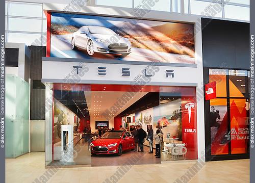 Tesla Motors store display at Yorkdale Shopping Centre, Toronto, Ontario, Canada 2014