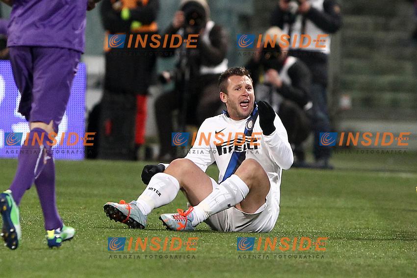 """Antonio Cassano Inter.Firenze 17/02/2013 Stadio """"Franchi"""".Football Calcio Serie A 2012/13.Fiorentina v Inter.Foto Insidefoto Paolo Nucci."""