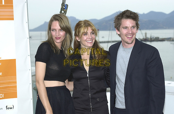 "UMA THURMAN NATHASHA RICHARDSON, & ETHAN HAWKE.Photocall for film ""Chelsea Walls"".Cannes Film Festival, France.May11th 2001..half length ex celebrity couple .Ref: PL.www.capitalpictures.com.sales@capitalpictures.com.©Capital Pictures."