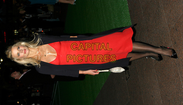 """LAURA BAILEY.""""Wimbledon"""" Uk Premiere.Odeon Cinemaleicetser Square, .London 20th September 2004..full length red dress black tights shoes coat pregnant.Ref: BR.www.capitalpictures.com.sales@capitalpictures.com.©Capital Pictures ."""