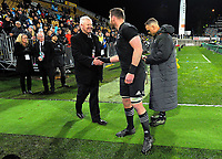 NZ Rugby chief executive Steve Tew shakes hands with All Blacks captain Kieran Read after the Rugby Championship match between the NZ All Blacks and Argentina Pumas at Yarrow Stadium in New Plymouth, New Zealand on Saturday, 9 September 2017. Photo: Dave Lintott / lintottphoto.co.nz