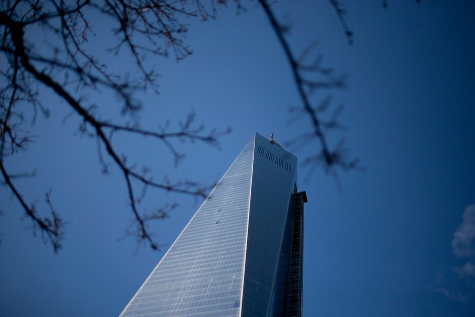 One World Trade Center reaches skyward on Saturday, April 5, 2014, in Lower Manhattan, New York. (Photo by James Brosher)