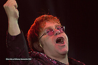 Ageing rocker Elton John plays all his greatest hits in the pouring rain at an open air concert which lasted over two hours in Fitzgerald Stadium, Killarney on Sunday night.<br /> Pictuyre by Don MacMonagle