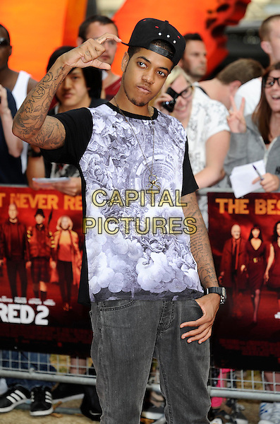 Chip ( Chipmunk / Jahmaal Noel Fyffe )<br /> 'Red 2' European film premiere, Empire cinema, Leicester Square, London, England.<br /> 22nd July 2013<br /> half length white black purple print top baseball cap hat tattoos hand arm<br /> CAP/DH<br /> &copy;David Hitchens/Capital Pictures