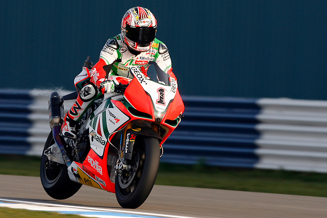 1 .Max Biaggi ITA (Aprilia RSV4 Factory - Aprilia Alitalia Racing Team) in action on the track today which saw him qualify in provisional pole position for Sunday`s race...Motorcycle Racing - 2011 FIM Superbike World Championship - Round 2 - Fri 25 Mar 2011 - Donington Park - Castle Donington - England..© CameraSport - 43 Linden Ave. Countesthorpe. Leicester. England. LE8 5PG - Tel: +44 (0) 116 277 4147 - admin@camerasport.com - www.camerasport.com..
